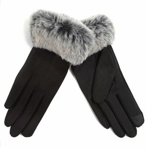 HP 🎉Suede Black Gloves with Faux Fur